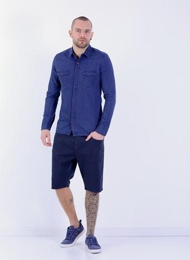 Cazador Desenli Uzun Kollu Gömlek İndigo